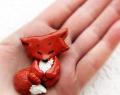 Little funny brooch Fox Cub  Animal jewelry Miniature