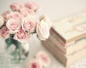 Peony art, flower print, pink, girl nursery decor, book art, book lover, french decor, nursery wall art, flower photography, shabby chic
