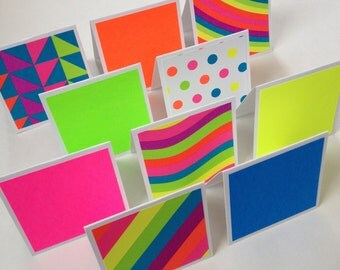 Set of 10 // 3x3 Mini Neon Note Cards // Mini Note Cards // Mini Cards // Neon Cards // Mini Note Card Set // Blank Cards // Bright Cards