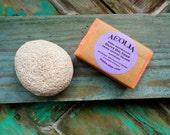 Olive oil soap, sea pumice, bath set, natural pumice, vegan soap, handmade soap, mandarin, jasmine, lavender, gift for her, Lesvos, Greece