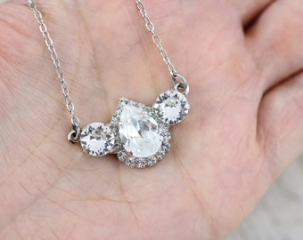 """Bridal Jewelry Set Vintage Necklace Style Bridal Necklace Crystal Necklace 16-18"""" Maid of Honor Gift Mother of Bride Gift Mother of Groom"""