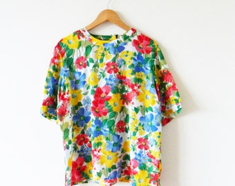 Rainbow Floral Vintage Blouse / Vintage Oversized Floral Top / Bright Floral Slouchy Blouse