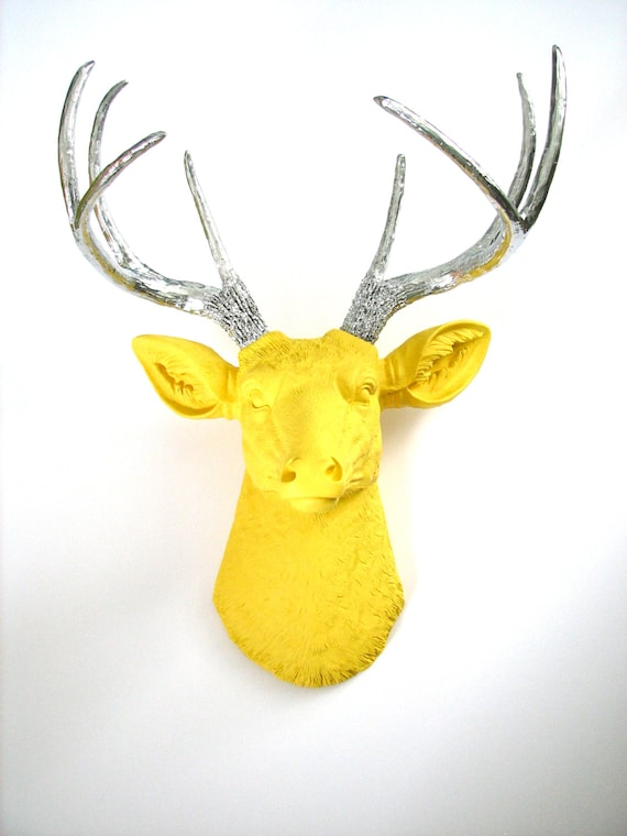YELLOW with Silver Antlers Faux Taxidermy Deer Head wall mount wall hanging home decor: Deerman the Deer Head / nursery / office / gift