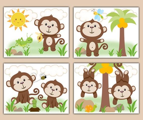 Kids Safari Bathroom Set: MONKEY NURSERY PRINTS Decor Wall Art Safari Animal Baby Boy