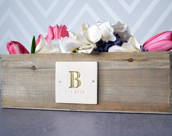 PERSONALIZED Wedding Gift Planter or Wedding Centerpiece Planter Box - Natural Wood