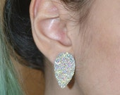 Faux Druzy Upside Down Tear Drop Earrings
