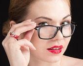Bright Luxury - glass ring 16, 17, 17.5, 18.5, 20.5 mm red artisan lampwork