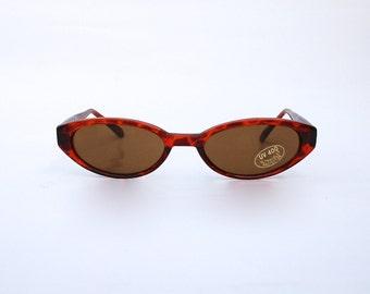 Vintage 90s Tortoise tones Sunglasses / Oval Transparent Sunnies w Black tone Frame -NOS Dead stock - Seapunk/Grunge/Acid House/Rave Culture