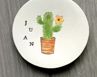 Personalized Ring Holder Men Gift  Cactus Ceramic Inspirational Dish Name Pottery