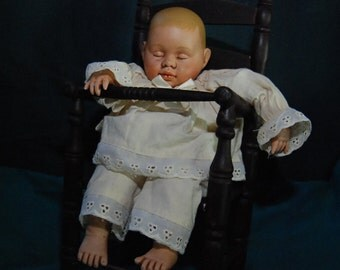 Olden Baby Doll in High Chair ~ Ceramic, Cloth, Wood ~ Vintage
