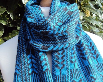 Blue Cashmere Fair Isle  Scarf.  Pure  Cashmere Knit scarf. Patterned cashmere shawl. Black and Blue gift .Gift for husband dad brother.
