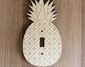 Wood Laser Cut Pineapple Light Switch Plate / Cover (single switch)