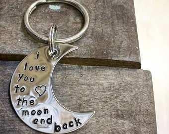I Love You To The Moon And Back Keychain - Stainless Steel - Hand Stamped - Custom - Personalized - Anniversary Wedding Gift - Made in USA