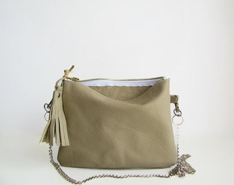 Crossbody leather pouch, Clutch purse, Leather purse, Crossbody bag, Beige, neutral color, zippered pouch, Evening bag, Tassel