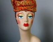 Pill Box Hat / Vtg 60s / Orange Printed Fabric Pill Box Hat / Floral hat