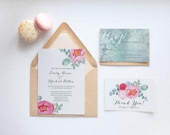 Printable Wedding Invitation -  Watercolor Wedding Invitation, Peony Wedding Invitation