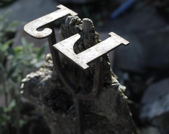 Super Vintage French  Iron Cattle Brand JL circa 1930- Antique Tool