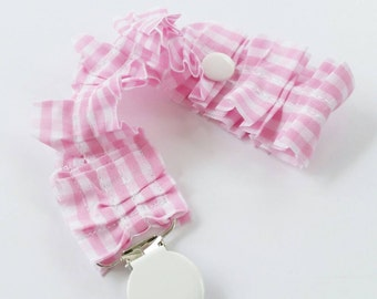 Shabby Chic Baby Girl Pacifier Clip / Pink and White Gingham Ruffle / Toy Strap / Teether Clip / Special Occasion Pacifier Clip / Baby Girl