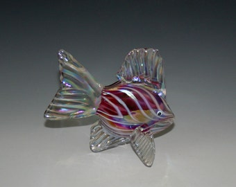 Hand Blown Glass Fish Sculpture - Ruby Pink Tropical Fish