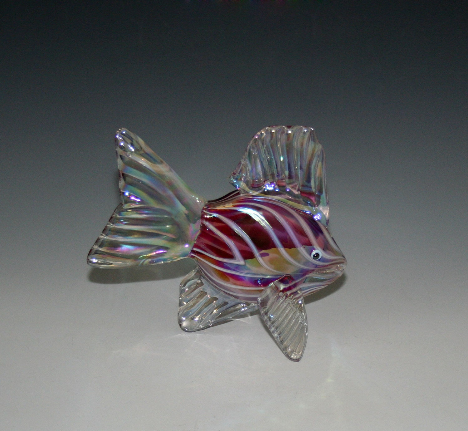 Hand blown glass fish sculpture ruby pink tropical fish for Blown glass fish