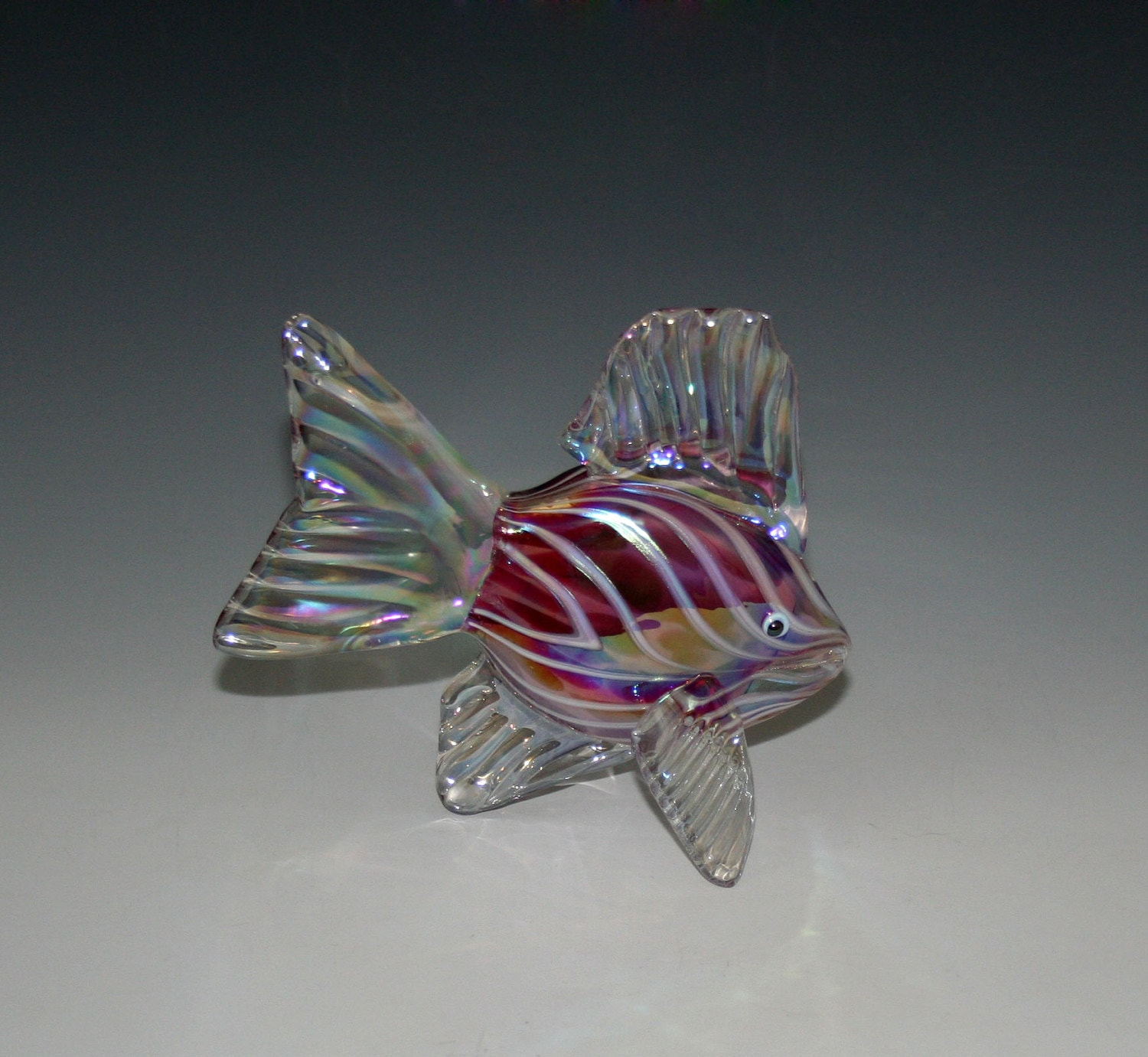 Hand Blown Glass Fish Sculpture Ruby Pink Tropical Fish
