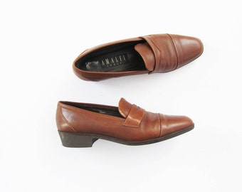Brown Leather Loafers / Vintage Penny Loafer Flats / 8.5