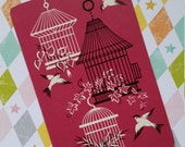 5 Adorable Kitsch Playing Cards | Bird Cage | Trade Cards | Pink | Mid Century | Victorian | Shabby Chic