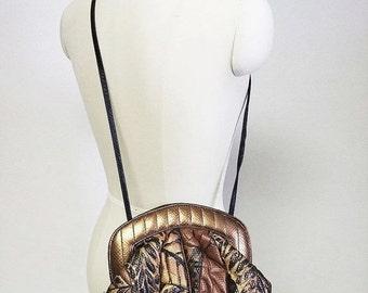 20% off Sale Vintage 80s Colini Handbags Copper Brown Black Leather Purse designer purse cross body purse black purse colini purse animal pr