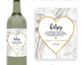 Marble & Gold Bridesmaid Wine Label - Will You Be My Bridesmaid - Bridesmaid Proposal - Maid of Honor