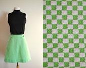 Vintage Lime Green Checkered Skater Skirt, Retro A Line Skirt, 60s High Waisted Mini Skirt