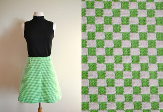 vintage lime green checkered skater skirt by joydestroyvintage