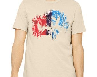 Wolf Shirt Graphic T Shirt Men's Hand Screen Printed Graphic Tee