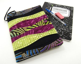 Quilted Composition Notebook Cover, Fabric Journal, Refillable Diary - Curved Pieced Black, Purple, and Green Fabric Notebook