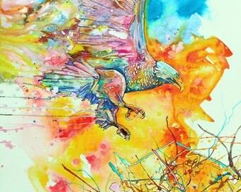 Eagle Nest-Art by Jen Callahan Tile,Cuttingboard,Paper Print
