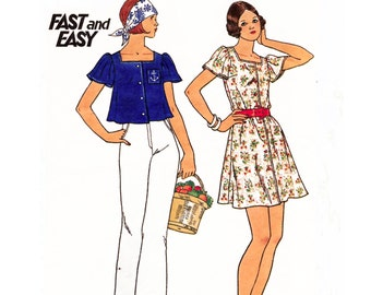"1974 Fast & Easy, Square Neck Tent Dress, Flutter Sleeves, Front Button, MuuMuu, Artist Smock, Crop Top, Butterick 3630-Bust 33.5""-34"" Uncut"