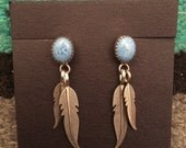 Denim lapis and sterling silver feather and stone earrings