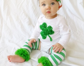 St Patrick's Day, St Patrick's Outfit, Shamrock Onesie, Green Shamrock Headband, Shamrock Ruffle Leg Warmers, Infant St Patricks Day Outfit,
