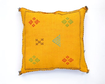 Yellow Moroccan Sabra Silk Pillow Cover Mustard Yellow Cactus Silk Cushion Cover Golden Yellow Embroidered Pillow