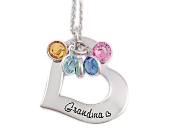 Personalized Grandma Necklace - Hand Stamped Jewelry - Personalized Jewelry - Grandma Heart Washer - Gift for Grandma - Mother Necklace