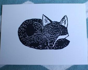 "Sleeping Fox in black - 5""x7"" original linocut print"