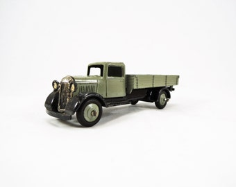 Vintage Dinky Toy, Tipping Wagon Model No. 25G Diecast, Gray Body, Black Fenders, VG Condition, Gray Ridged Hubs, Wagon Hinged Tailgate