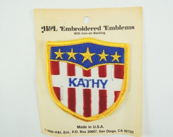 Vintage Name Patch, Red White Blue Emboidered Patch, Stars and Stripes Embroidered Patch, Iron On Name Patch, Bowling Shirt Patch, Patriotic
