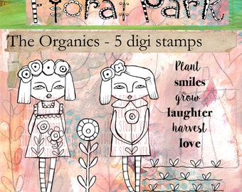The Organics - two whimsical garden gals with accent images and a sentiment - five digi stamp set available for instant download