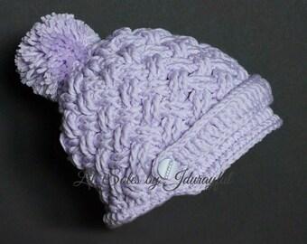 Baby Hat, Baby Girl Hat, Baby Bonnet, Baby Beanie, Shower Gift, Purple Hat, Crochet Baby Hat, Newsboy Baby Hat, 0-3 Months, Donegal Baby Cap