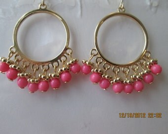 Gold Tone Hoop Earrings with Pink Beads Dangles