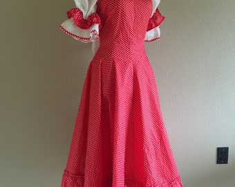 50s Red Polka Dot Polished Cotton and Crinoline Summer Dress