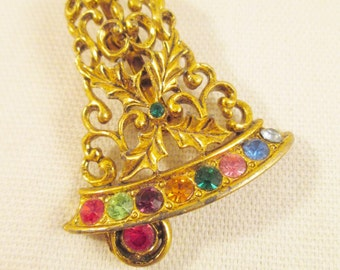 Beatrix Christmas Bell Brooch Holiday Pin Rhinestone Gold Tone Filigree Signed Costume Jewelry