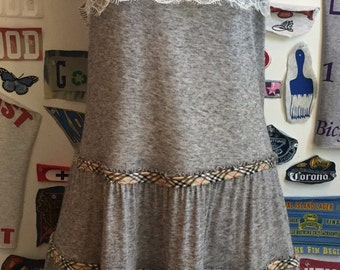 Burberry Trim 3 Tier Grey Sleevless Dress with Lace Detail SMALL