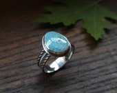 Natural Royston Turquoise Sterling Silver Ring. Light Blue with Brown Matrix Turquoise Stone. Thick Ornate Textured Band. US Ring 7.5