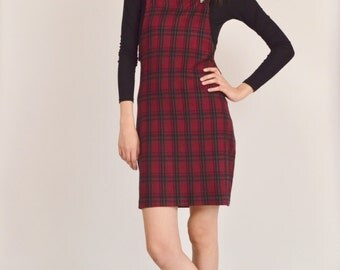 15% OFF 90s Grunge Plaid Overalls Midi Dress